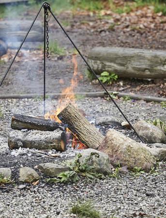 outdoor pioneer cooking in frontier fort