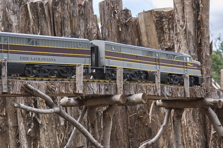 Model Railroad display. Scale replicas of steam and diesel trains