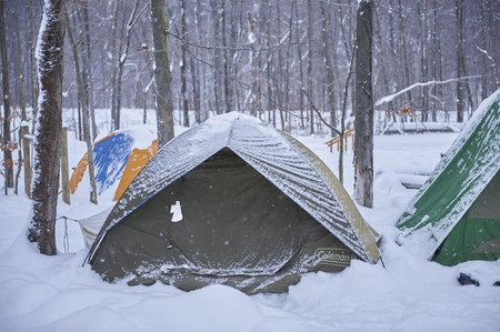 sleeping tents in snow just after storm