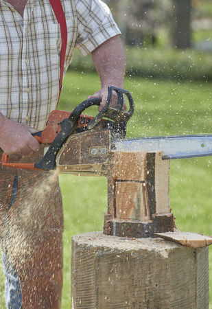 Lumber jack cutting log with chainsaw