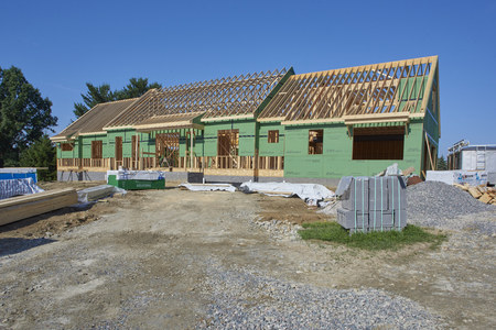 Residential home under construction in Solon, Ohio USA