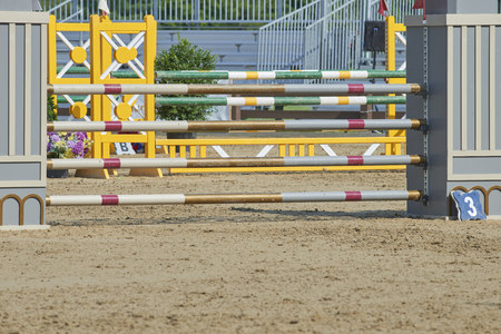 2018 HunterJumper Classic at Cleveland Metro Parks polo field in Moreland Hills, Ohio USA - course jumping obstacle
