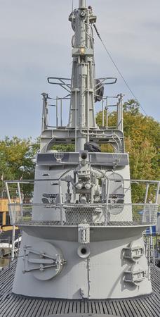 World War II Submarine U.S.S. Cod Memorial docked at North Coast Harbor Cleveland, Ohio USA (conning tower)