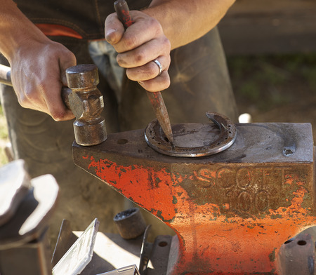 blacksmith preparing horseshoe for shoeing