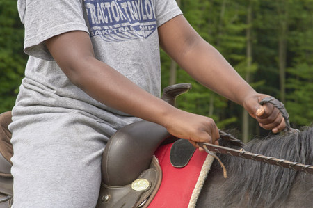 Summer Camp Western Horsemanship riding lesson Stockfoto