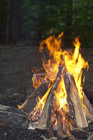 evening camp fire at resident camp 스톡 콘텐츠