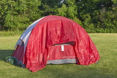 red camping tent setup