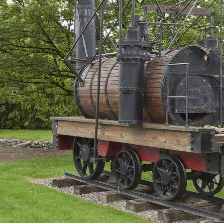 Ireland Trip (May 19-29, 2019) Jameson Distillery. Midleton, County cork, Ireland. Locomotive that transported whiskey barrels from distillery 스톡 콘텐츠