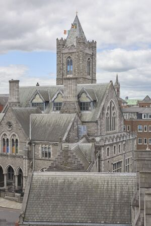 Ireland Trip (May 19-29, 2019) Dublin, Ireland.Christ Church Cathedral. Old standing building in Dublin. exterior view 스톡 콘텐츠