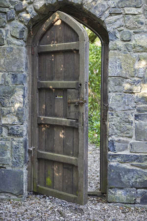 Republic of Ireland Trip (May 19-29, 2019)Dunboyne Castle Hotel, outside of Dublin, Ireland, old wooden door surrounded by crumbing stone wall