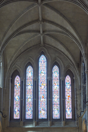Ireland Trip (May 19-29, 2019) Dublin, Ireland.Christ Church Cathedral. Old standing building in Dublin. Stained glass windows 에디토리얼