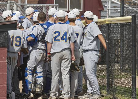 Notre Dame Cathedral Latin High School Freshmen Baseball Game. Team Rally before game Stock Photo