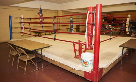 youth boxing ring before match 版權商用圖片