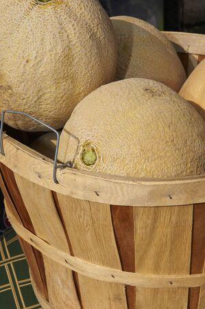 Sunday street market.  Basket of cantaloupes Stock Photo
