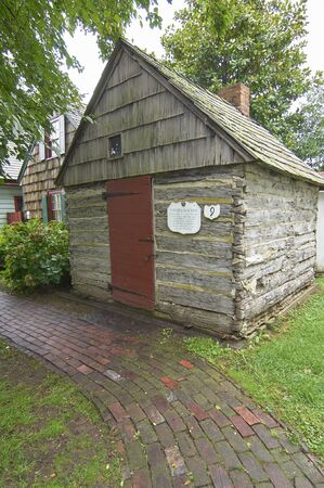 State of Delaware Lewes Historical Society Tall Ships celebration. Plank house Stock Photo