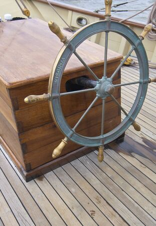 State of Delaware Lewes Historical Society Tall Ships celebration. Helm of sail ship