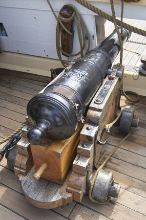 State of Delaware Lewes Historical Society Tall Ships celebration. Cannon on sail ship