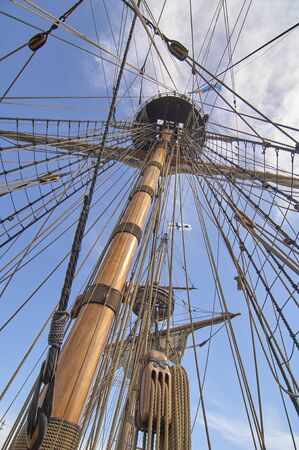 State of Delaware Lewes Historical Society Tall Ships celebration. Rigging of sail ship
