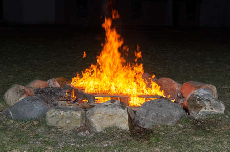large ceremonial fire during church service