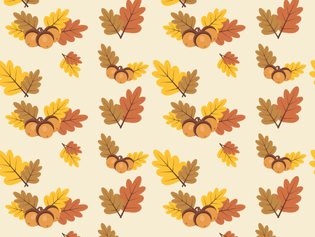 gold textured background: Autumn vector pattern leaves with acorn. Colorful autumn leaves illustration Illustration