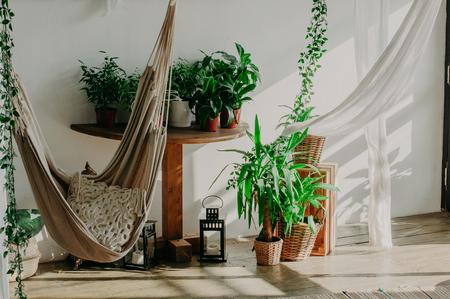 hammock in the manimalism bedroom interior