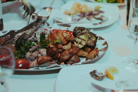 Wedding banquet table with food. Restaurant meal