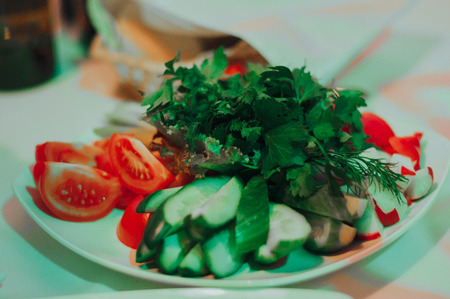Salad table on the wedding party. Food decoration