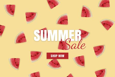 Summer sale banner. Special offer poster discount on the yellow background with red watermelon. Fruit pattern Фото со стока