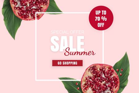 Summer sale banner. Special offer poster discount on the pink background with red pomegranates and green leaves