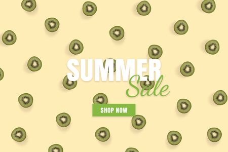 Summer sale banner. Special offer poster discount on the yellow background with green kiwi. Fruit pattern