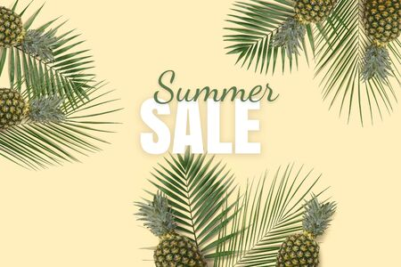 Summer sale banner. Special offer poster discount on the yellow background with green kiwi, pineapple and palm leaves. Fruit pattern
