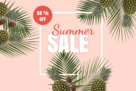Summer sale banner. Special offer poster discount on the pink background with green kiwi, pineapple and palm leaves. Fruit pattern with white frame