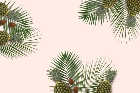 Summer minimal banner copyspace. Green palm leaves on the pastel background with pineapple and kiwi. Top view fruits flatlay
