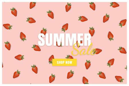 Summer sale banner. Special offer poster discount on the pink background with red strawberry. Fruit pattern Фото со стока