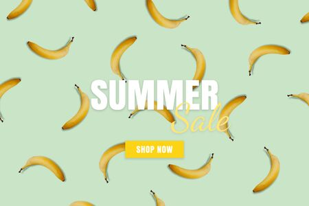 Summer sale banner. Special offer poster discount on the blue background with yellow bananas. Fruit pattern Фото со стока