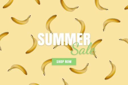 Summer sale banner. Special offer poster discount on the yellow background with bananas. Fruit pattern
