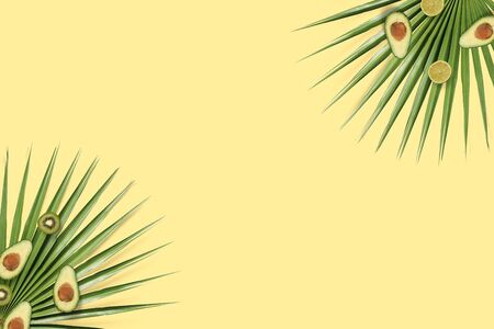 Summer fruits flatlay with copyspace. Yellow background with avocado and kiwi top view on the green palm leaves