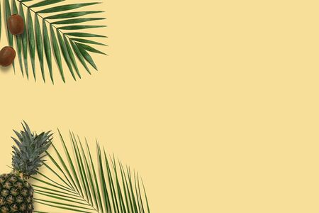 Top view yellow pineapple and kiwi flatlay. Summer minimal banner copyspace. Green palm leaves on the pastel background