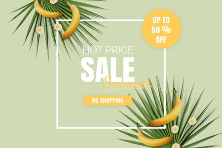 Hot price summer sale flatlay. Offer poster with bananas and green palm leaves with white frame. Up to 50%
