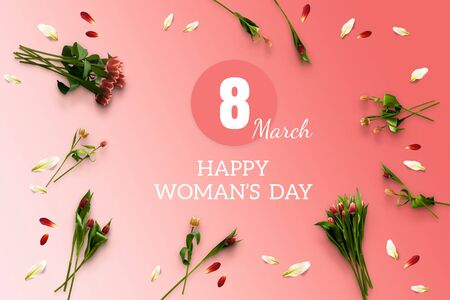 Spring gift card Happy Woman's Day. 8 of March. International holiday. Flowers tulips flatlay on the pink background