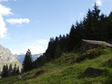 House in the alpine mountains photo