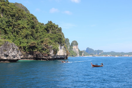 Stock Photo - Travel vacation background - Phi Phi Island, Krabi Province, Thailand, Asia traditional boat, don photo