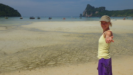 young woman on the beach, Thailand, Ko Phi Phi Don Bay photo