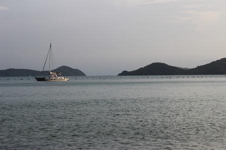 sailingboat: boat and  sailingboat on  Ao Yon Beach, Phuket Island, Thailand Stock Photo