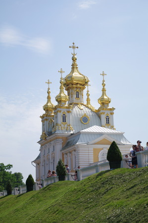 double headed: Church in  Peterhof Palace, St. Petersburg, Russia Editorial
