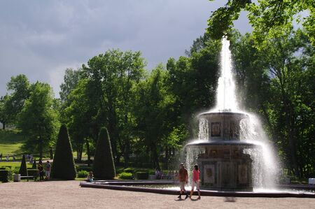 Roman Fountainin in  the  garden of the Grand Peterhof Palace