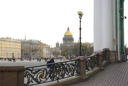 Kazan Cathedral (Cathedral of Our Lady of Kazan) view from Palace Square and the Hermitage museum  in Saint Petersburg, Russia