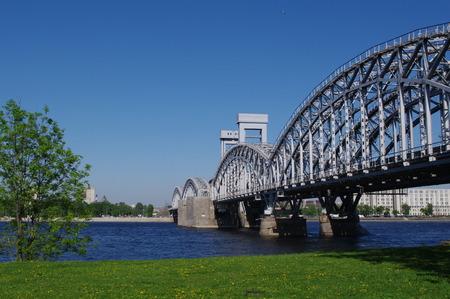 piter: Stock Photo - Finland Railway bridge at sunny day, St.Petersburg, Russia