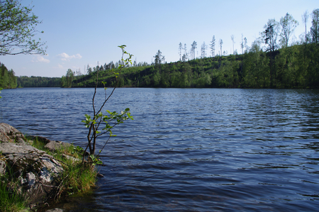 long lake: sea view at the Lake Yastrebinoye - a pearl of Karelian land, Karelian Isthmus, Leningrad Oblast, Russia (Lake Yastrebinoye іs а 2 km long lake іn Priozersky District оf Leningrad Oblast, close tо the border wіth the Re