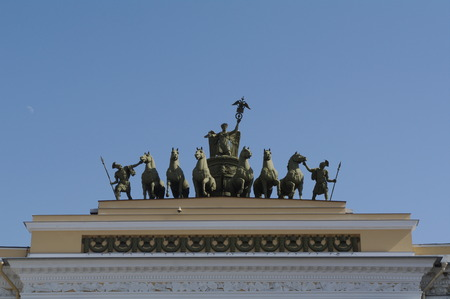 Stock Photo - Stock Photo - detail of Triumphal Arch of General Staff Building, Palace Square in Saint Petersburg, Russia